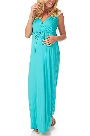 e29d54171e PinkBlush Maternity Aqua Crochet Back Maternity Nursing Maxi Dress ...