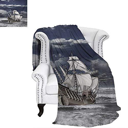 warmfamily Landscape Summer Quilt Comforter Cloudy Sky Caribbean Pirates Ship Oil Print Like Art Image Digital Printing Blanket 62