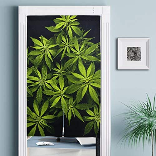 Jacksome Marijuana Weed Screen Door with Durable Fiberglass Mesh Curtain and Full Frame Fits Door Size up to 34 x56.3 Tension Rod Included