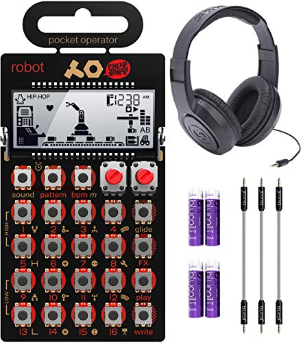"""Teenage Engineering PO-28 Pocket Operator Robot Lead Synthesizer/Sequencer Bundle with Samson SR350 Over-Ear Closed-Back Headphones, Blucoil 3-Pack of 7"""" Audio Aux Cables, and 4 AAA Batteries"""