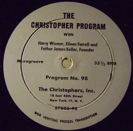 Eileen Farrell Aircheck For The Christophers Radio Program  Wor