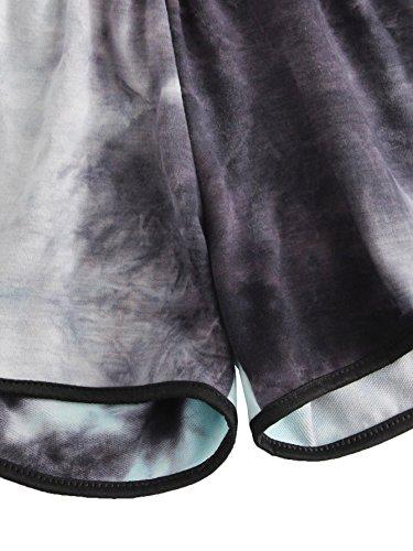 SweatyRocks Women's Summer Casual Tie Dye Multicolor Print Lounge Shorts (M=S(US 4-6), Black) by SweatyRocks (Image #3)