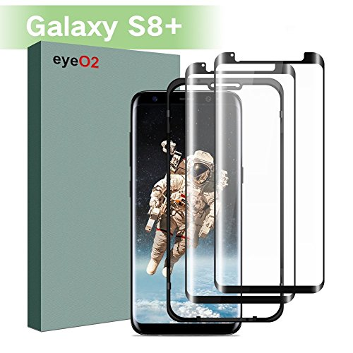EyeO2 for Samsung Galaxy S8 Plus Screen Protector 9H [Fully Adhesive] 3D Curved Edge Tempered Glass Guard High Sensitivity HD Full Cover S8+ Screen Film Protective Replacement Accessories Black 2 Pack Aid Premium Adhesive