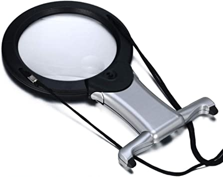 Desktop Hands Free Hanging Magnifying Glass with Neck Cord /& 4 LED Lights for Reading Crafts Handcraft Sewing 3 X A4 Page Foldable Magnifying Glass