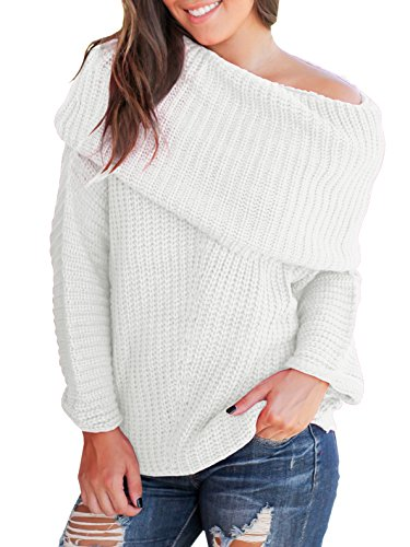 - Imily Bela Womens Off The Shoulder Sweater Cowl Neck Pullover Long Sleeve Oversized Jumper