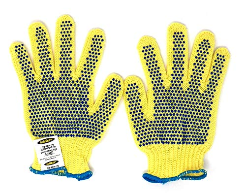 Gloves Cotton Ansell (Ansell GoldKnit 70-330 PVC Glove, Cut Resistant, Knitted Coated on Kevlar Liner (Pack of 12 Pairs) (Small))
