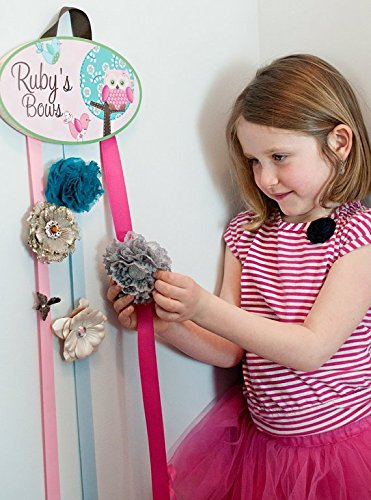 Sweet Little Owl HairBow Holder - Bows Clippies Organizer - Girls Personalized Hair Bow and Clip Hanger HB0163