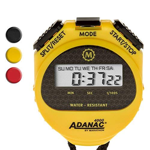 MARATHON Adanac 4000 Digital Stopwatch Timer with Extra Large Display and Buttons, Water Resistant, 2-Year Warranty. Color- Yellow (Pack of 10)