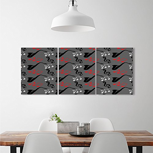 - Jazz Music Triptych Art Set Music Notes Treble Clef Saxophone Pattern Abstract Design Blues Performancebrick wall stickers Grey Black Red