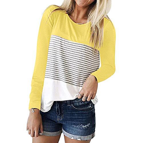 ORUU Ladies Long Sleeve Triple Color Block Stripe Casual Blouses Tops ()