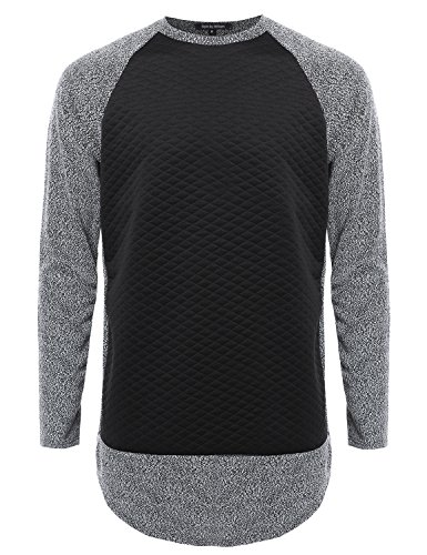 Style by William Long Sleeve Two Tone Colored Raglan Sweatshirt Black XL Size