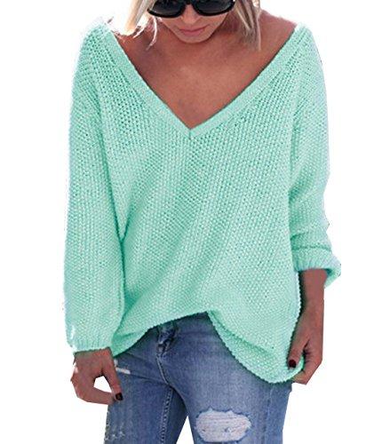 Maglione Maglie Scollo Sciolto a Autunno Lnverno Verde Sweater Tops V Felpa Lunga Pullover Jumper Moda Sweatshirt Casual Donna Manica Eleganti 6Ewppq1x