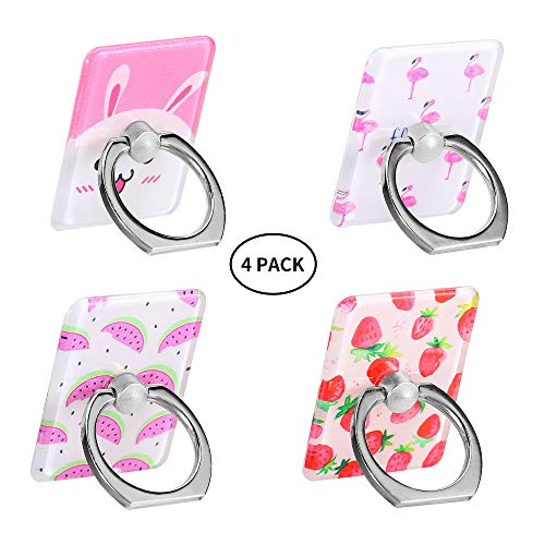 Fruit Cell Phone Ring Holder, Bird Cell Phone Ring Stand, Cute Animal Finger Ring Compatible for iPhone Xs/XR/XS Max (4 Pack, Watermelon,Strawberry,Rabbit,Flamingo)