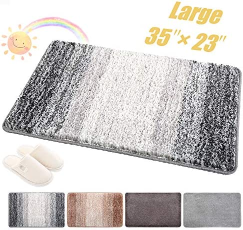Indoor Doormat Front Door Mat Non Slip Rubber Backing Absorbent Mud and Snow Magic Inside Dirts Trapper Mats Entrance Rug Machine Washable 23 x35 , Grey Snowflakes