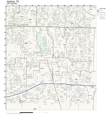 Amazon.com: ZIP Code Wall Map of Addison, TX ZIP Code Map