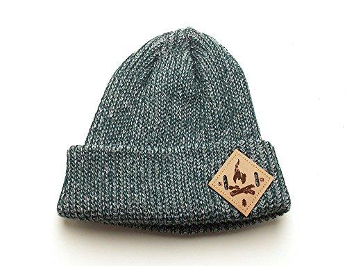 Women's Heather Knit Beanie - Bonfire Leather Patch - 2 Color Options -