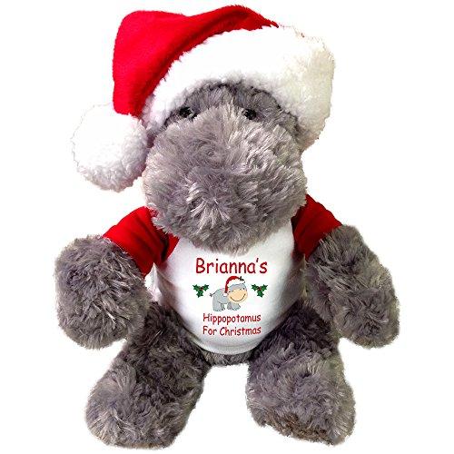 Hippopotamus for Christmas - 12 Inch Personalized Plush Hippo with Santa -
