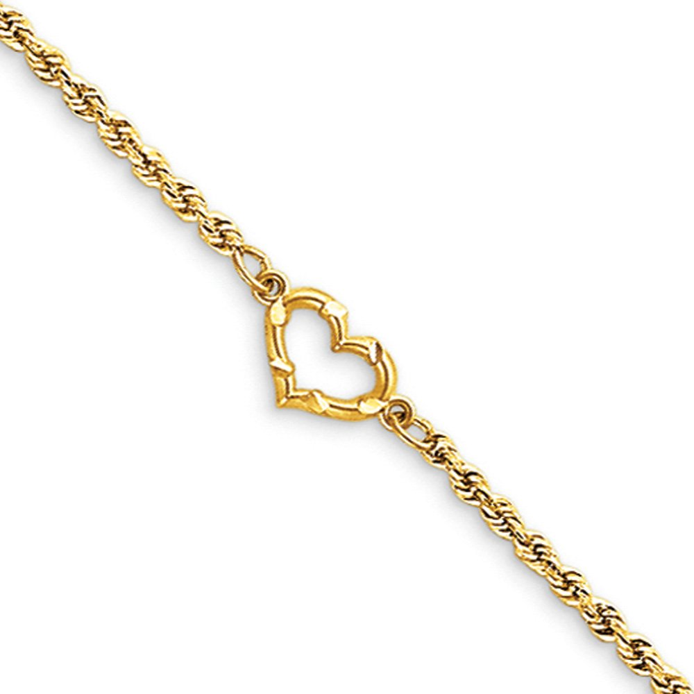 Black Bow Jewelry 14k Yellow Gold Rope with Heart Anklet, 10 Inch