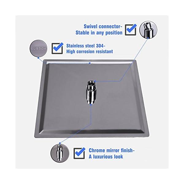 WYJP - Soffione doccia a pioggia, con ugelli anticalcare lucidi, effetto specchio, in acciaio inox 304 2 spesavip