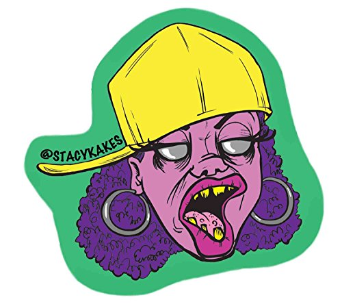 Hip Hop Zombie Chick Zombie Decal -- For Cars, Laptops, and More! -- Use Inside or Outside -- Sicks To Any Flat Smooth Surface