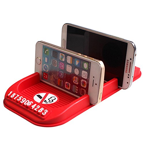 LEIWOOR Car Anti Slip Mat Dashboard Parking Card GPS Holders For Key Cell Phone Sunglass (red (no - Sunglasses Smoking