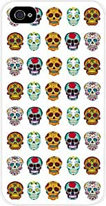 Sugar Skulls Pattern- Case for the Apple Iphone 4-4s Universal- Hard White Plastic
