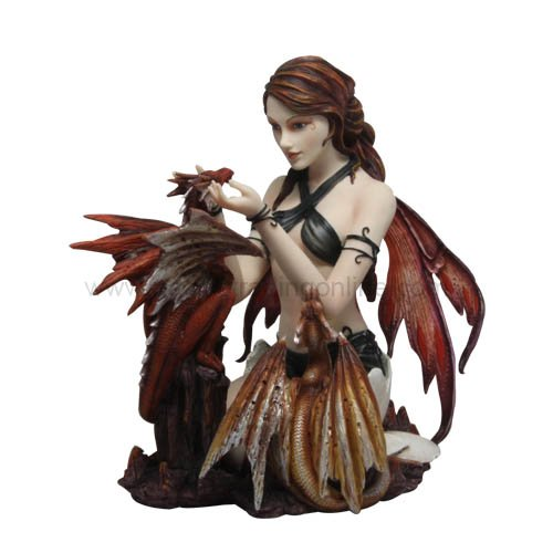 Ptc Group 10 Inch Gothic Warrior Fairy with Dual Dragons ...