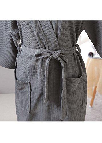 e63b5c7ad9 Womens Cotton Robe Waffle Kimono Robes Hotel Spa Bathrobe Loungewear  Sleepwear Short