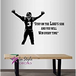 "Wall Vinyl Decal Home Decor Art Sticker ""Stay On The Lord's Side,and You Will Win Every Time"" Quote Phrase God Football Player Boys Guys Sports Room Removable Stylish Mural Unique Design"