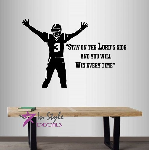 """Wall Vinyl Decal Home Decor Art Sticker """"Stay On The Lord's Side,and You Will Win Every Time"""" Quote Phrase God Football Player Boys Guys Sports Room Removable Stylish Mural Unique Design"""