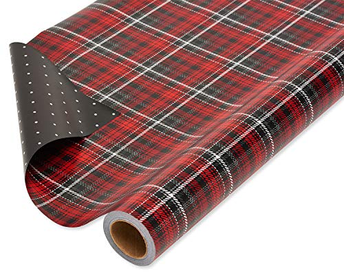American Greetings Christmas Wrapping Paper Reversible Jumbo Roll, Red and Black Plaid and Polka Dots (1 pack, 175 sq. ft.) (The Best Christmas Greetings)