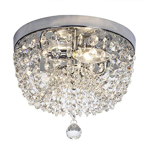 SOTTAE 2 Lights Ceiling Light Pendant Fixture Lighting Chrome Finish Modern Crystal Chandelier, Crystal Ceiling - 2 Light Crystal Pendant