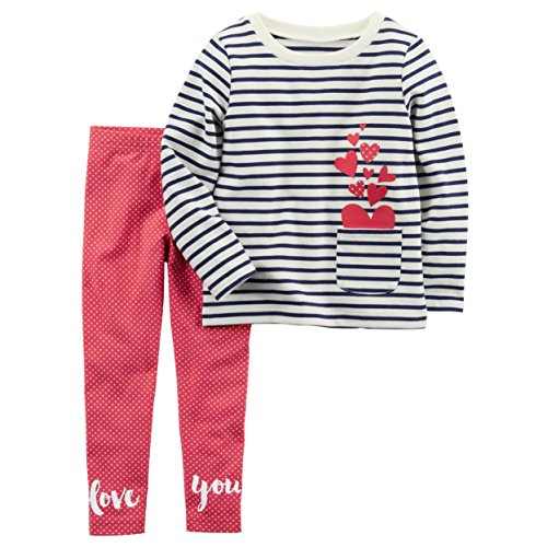 Carter's Girls' 2T-8 2 Piece French Terry Top and Polka-Dot Leggings Set 3T (2 Piece Printed Hearts)