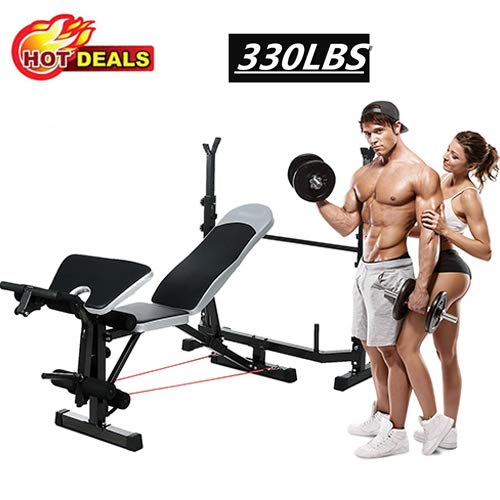 Aceshin Adjustable Olympic Weight Bench Power Tower Workout Dip Station with Preacher Curl Leg Developer Multi-Functional Weight Bench Set for Indoor Gym Home Fitness Exercise 330lbs
