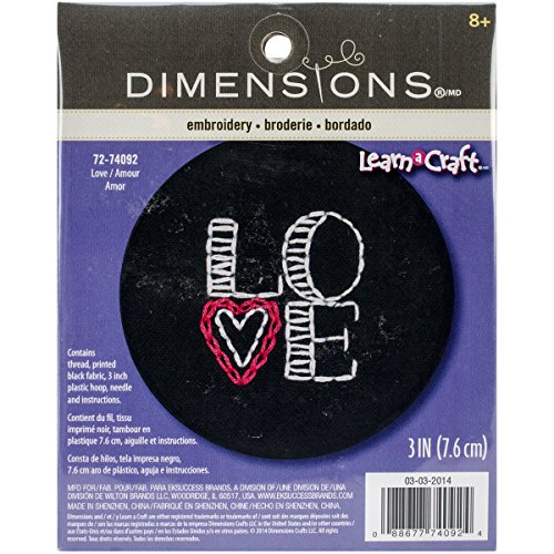 Dimensions Crafts 72-74092 Love on Black Embroidery Kit ()