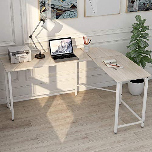 P PURLOVE L-Shaped Desk Home Office Corner Computer Desk 66