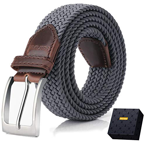 Elastic Braided Belt, Fairwin Enduring Stretch Woven Belt for Men/Women/Junior (Women Grey Belt)