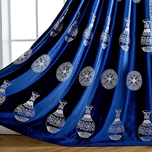 - AiFish Blackout Window Curtains and Drapes for Living Room Embroidered Vase Thermal Insulated Elegant Grommet Panels/Draperies with Eyelets for Bedroom Window Royal Navy Blue 1 Panel W75 x L84 inch