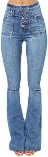 FRPE Womens High Waist Stretch Butt Lift Flare Bell Bottom Denim Jeans Pants