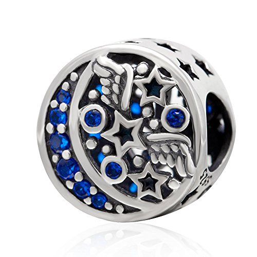 Moon and Stars Charm with Blue CZ Authentic 925 Sterling Silver Spacer Charm for Charms Bracelet