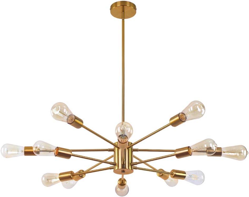 CLAIRDAI Chandelier 12 Lights Pendant Lighting Gold Sputnik Chandeliers Mid Century Ceiling Light Fixtures for Kitchen Dining Area Living Room