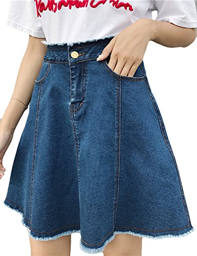 AsherFashion Women's Classic Denim Flare Pleated Mini A-Line Skirt With Pockets Dark Blue,US (Classic Denim Mini)