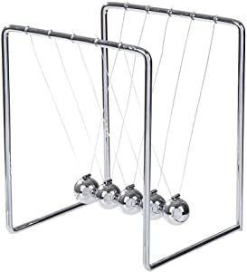 ArtCreativity Newton's Cradle - Stainless Steel Office Desk Decoration Metal Desk Toy with Reflective Finish - Fun Educational Science Learning Aid - Best Gift for Kids and Adults
