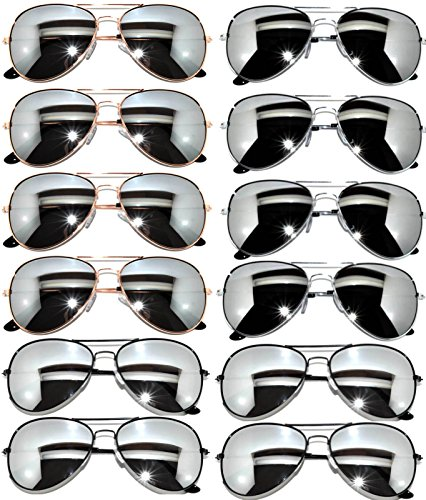 12 Pairs Classic Aviator Sunglasses Metal Gold, Silver, Black Frame Colored Mirror Lens OWL (3-Black_3-Gold_3-Gun_3-Silver_Mirror, - Aviator Metal Black