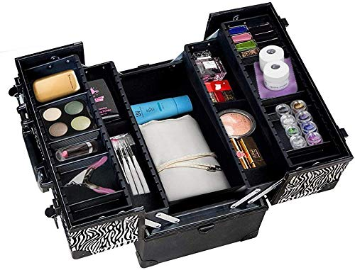 Royal Brands Pro Aluminum Makeup Train Case with Shoulder Strap Jewelry Box Cosmetic Travel Locking Organizer (Zebra)