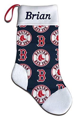 Personalized Socks Baseball Christmas Stocking Embroidered Gift - Boston Red Sox Christmas Stocking
