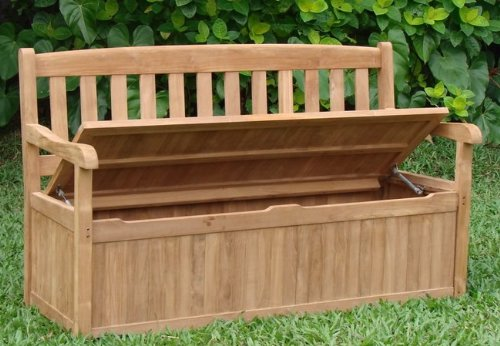 TeakStation Grade-A Teak Wood Luxurious 5 Feet Bench With Storage Box [Model:DV2] Bench & Cushions Sold Separately - Choose Below #TSBHDV5ST