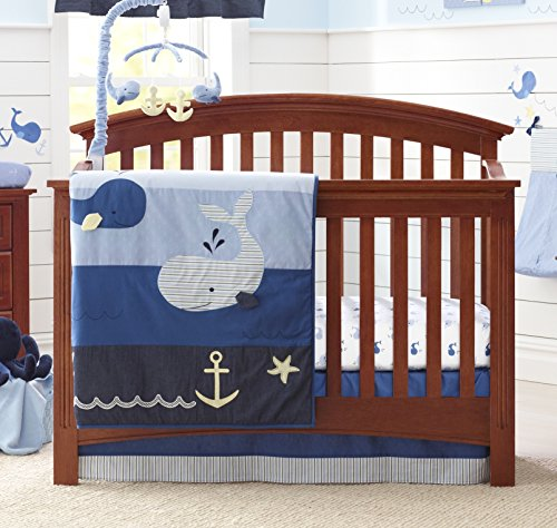 Nautica Kids Brody Nautical/Whale 4 Piece Nursery Crib Bedding Set