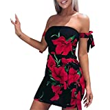 Mose Womens Sundrss Maxi Dress, Explosive Tube Sexy Off Shoulder Rose Printed Ribbon Zipper Lace-up Elegant Tops with Bag Hip Thong Mini Dress New (Red, XL)