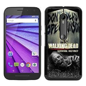 Moto G 3rd Phone Case,The Walking Dead (2) Black Pattern Cool Design Motorola Moto G 3rd Generation Cover Case